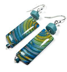 Turquoise Multi Dangle Earrings polymer clay by BeadazzleMe