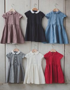 Linen Dress, Red, Kids Fashion, Hand Made, Children Clothing, Peter Pan Collar…