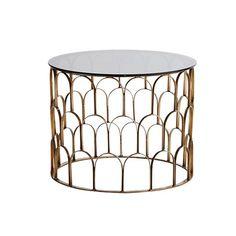 Brass Loop Coffee Table With Black Glass Art Deco Coffee Table, Cool Coffee Tables, Round Coffee Table, Broken Glass Art, Shattered Glass, Sea Glass Art, Salon Art Deco, Estilo Art Deco, Home Furniture Online