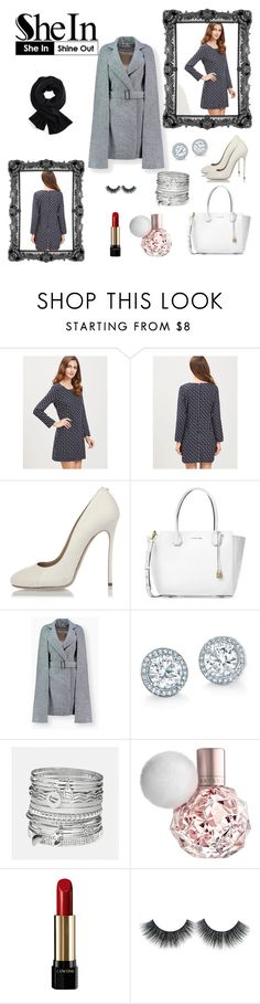"""""""SheIn-new contest with prize! Navy Zipper Back Long Dress"""" by fatima-263 ❤ liked on Polyvore featuring Dsquared2, Michael Kors, Avenue and Lancôme"""