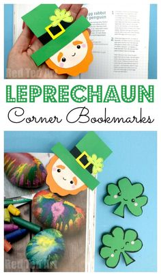 Leprechaun Corner Bookmark for St Paddy's Day - super cute Corner Bookmark Design for St Patrick's Day. We love a great Paper St Patrick's Day Craft and send some Leprechaun love to your friends. St Patricks Day Crafts For Kids, St Patrick's Day Crafts, Holiday Crafts For Kids, Fun Crafts, Holiday Activities, Bookmark Craft, Diy Bookmarks, Corner Bookmarks, Saint Patrick