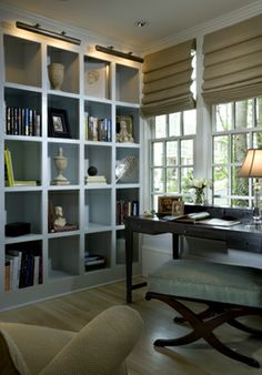 built-in bookcase wall with square cubbies = massive amounts of storage, exposed or hidden in a square basket that fits in the cubby Office Bookshelves, Living Room Bookcase, Bookcase Wall, Built In Bookcase, Living Room Decor, Shelf Wall, Hirsch Design, Bookcase Lighting, Wall Cubes