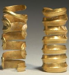 1200 BC CENTRAL EUROPEAN BRONZE AGE GOLD HAIR ORNAMENTS