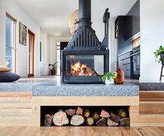 Nowadays there are a lot of different fireplace styles. If you like rustic or old-fashioned style- rustic fireplace design is something you going to love. Wooden Fireplace, Freestanding Fireplace, Rustic Fireplaces, Home Fireplace, Fireplace Design, Fireplace In Kitchen, Shiplap Fireplace, Foyers, Interior Decorating