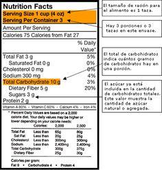 """Si come alimentos envasados, una forma de averiguar cuántos carbohidratos hay en su comida es usar la """"Etiqueta de información nutricional"""". Esta se encuentra en la parte exterior del envase."""
