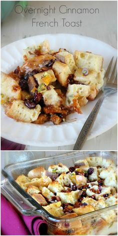 Overnight Cinnamon French Toast with dried fruits & nuts is rich and luscious, but prepped in just minutes the night before making an easy morning recipe! #frenchtoast #breakfast #overnight