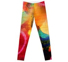 Circles mixed-media painting Leggings