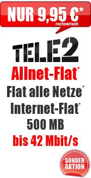 Tele2 Allnet-Flat + 500 MB 9,95 mit E-Plus Tele2 Allnet Flat Smart 14.95 #Aktion #Vertrag #schnäppchen #deal #dealz #sparen #tipp