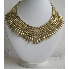 Golden Necklace/Statement Necklace/Bib by FootSoles on Etsy, $29.80