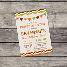 WE PRINT Pumpkin Patch Birthday Party Invitation by PartyPrintery