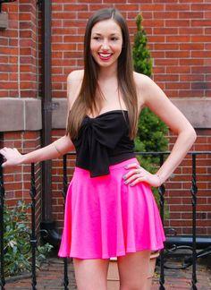 Pink Mini Skirt - Neon Pink High Waisted Skater | UsTrendy