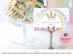 Rainbow Unicorn Invitation, Editable template, Edit at home Unicorn Invitations, Party Invitations Kids, Baby Shower Invitations, Slumber Parties, Birthday Parties, Rainbow Candy Buffet, Unicorn Foods, Christening Invitations, Food Tent
