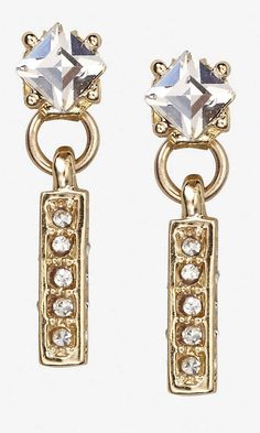 RHINESTONE AND DANGLING PAVE STICK POST EARRINGS   Express