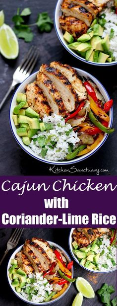 A healthy meal ready in just 30 minutes. A perfect weeknight recipe. Juicy griddled Cajun chicken with charred veggies and coriander-lime rice.