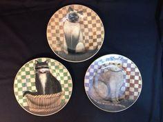 David DC Brown Country Kitties Cats Salad Plates 2004 Set Of 3