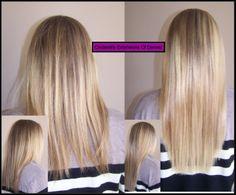 California Blonde micro bead hair extensions.
