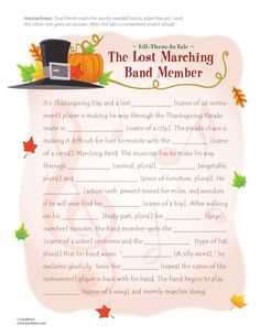 A Thanksgiving Fill-Them-In Tale (Printable Activity for Kids)   Thanksgiving Worksheets - Printable Thanksgiving Activity Sheets   FamilyFun