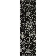 Nourison Linear Blossom Wool Rug, Black and Ivory, Beige