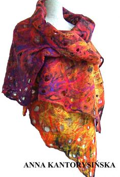 115$ designer felted scarf FIRE QUEEN - handmade, 100% eco-friendly fashion