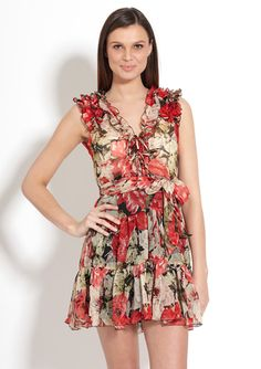 LA CLASS Printed Ruffle Trim Sleeveless Dress