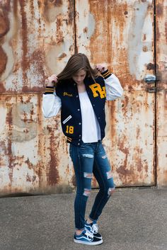 Varsity Jacket Outfit, Volleyball Senior Pictures, Letterman Jackets, Photography Senior Pictures, Cap And Gown, Senior Girls, New Print, Mode Style, Converse