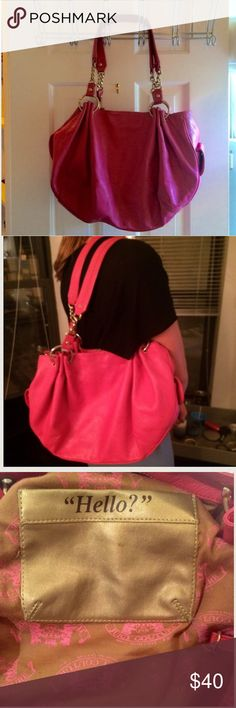 Juicy Couture Hot Pink Medium Bag Authentic Juicy Couture hot pink medium leather purse. Very fun and unique! Used but in great condition. Spacious with mini pockets inside and outside. Price negotiable. Juicy Couture Bags Shoulder Bags