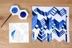 Die Parallelperspektive täuscht in einem zweidimensionalen Bild eine nichtvorhandene Tiefe vor und ist eine optische Täuschung. Räumliches Zeichnen ist sehr schwer - das farbige Ausmalen unserer Treppenstadt ist dagegen ein Kinderspiel. Mit dem Einsatz von nur drei Farben entsteht eine optisch dreidimensionale Treppenstadt mit verwinkelten Gassen, Innenhöfen und geheimnisvollen Wegen.