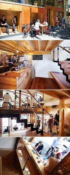 Brolly Design have designed Flipboard, a tiny multi-level cafe in Melbourne, Australia.