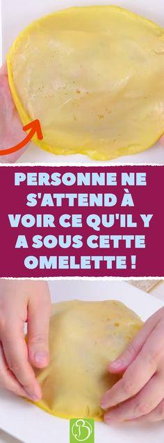 Personne ne s'attend à voir ce qu'il y a sous cette omelette ! Des oeufs et un dôme de riz pour une omelette d'exception. #champignons #oeufs #riz #omelette #poivron #recette #originale