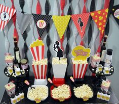 Ready to pop popcorn bar baby shower party! See more party planning ideas at CatchMyParty.com!