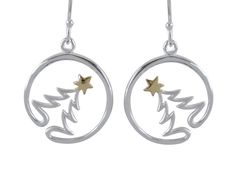 Sterling Silver  & Gold Plated 18mm Xmas Tree In Circle Drop Earrings