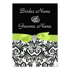 B & W Damask with Lime Green Wedding Invitations