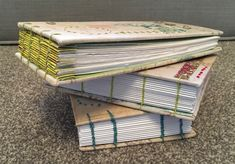 Stitched spine books using Coptic binding Magazine Rack, Stitch, Storage, Books, Furniture, Home Decor, Purse Storage, Full Stop, Libros