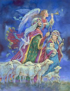 """And they came with haste . . ."" (St. Luke 2: 16) KJV; ---  Image reference: bms-x 10599 -- by Donna Race, Race Studios"