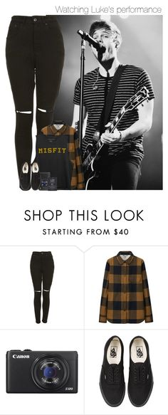 """""""Watching Luke's performance"""" by mmbrambilla ❤ liked on Polyvore featuring The Ragged Priest, Uniqlo, Canon and Vans"""