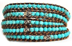 turquoise silver leather chan luu bracelet