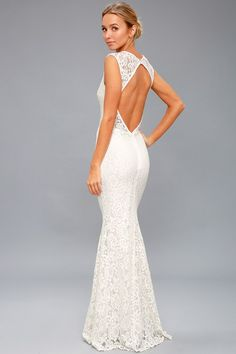 Start your happily ever after in the Ceci White Lace Backless Maxi Dress! Floral lace tops a white liner as it shapes a plunging V-neck and open back. Backless Maxi Dresses, A Line Prom Dresses, Dress Prom, Formal Dresses, Dress Long, Long Dresses, Formal Wear, Maxi Skirts, Lulus Wedding Dress