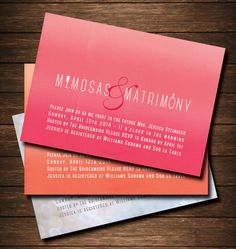 "Champagne Mimosa Brunch Invitations; could be used for a Bridal Shower, Birthday Party, Bachelorette Party, Bridal Party Spa Day or Rehearsal Dinner.  All wording & colors are customizable. Click link to see samples in Ombre Pink & Sunset Orange. ""Mimosas & Matrimony"""