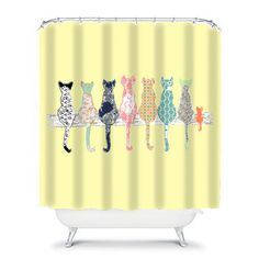 Cat Shower Curtain, Cats Shower Curtain, Yellow Shower Curtain, Yellow Bathroom  Decor, Cat Decor, Cat Bathroom Decor, Kids Bathroom Decor