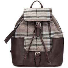 Yoins Beige Checked Canvas Leather-look Backpack with Drawstring (210 ILS) ❤ liked on Polyvore featuring bags, backpacks, backpack, beige, fake leather backpack, vegan leather backpack, faux-leather backpacks, canvas knapsack and canvas drawstring backpack