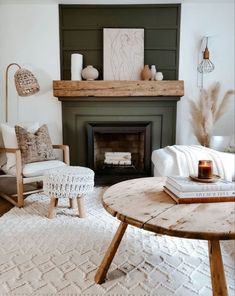 Earthy Living Room, Living Room Decor Cozy, Living Room Green, Boho Living Room, Living Room With Fireplace, Living Room Interior, Home And Living, Fireplace Update, Modern Fireplace