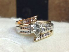 Vintage Wedding Ring Set White Gold With Yellow By Likewisethrift 1850 00