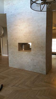 grider fireplace after mythos beige tile in a herringbone pattern fireplace is brick work studio white bricks