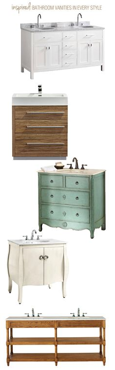 An inspiration board showing bathroom vanities in several styles