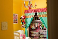 Make the most of your closet space by removing sliding doors and adding curtains! #nursery