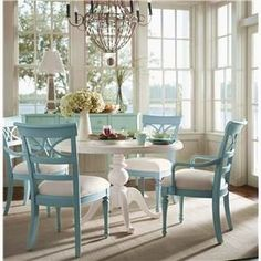 Robins Egg blue. I want to do this with my dining room table and chairs!