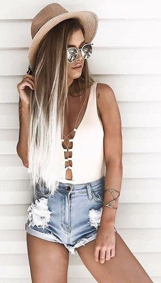 #summer #outfits Mocha Hat + White Tie One Piece Swimsuit + Ripped Denim Short
