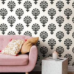 Egyptian Influence.  Modern. $119.90 per double.  Block style print.  York Wallcoverings.  Silhouettes Collection. #wallcoverings #homedecorideas #BuyAmerican @YorkWall @WallpaperStore Green Wallpaper, Black And White Design, Luxor, Showroom, Throw Pillows, York, Knowledge, Tools, Modern