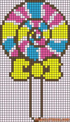 Lollipop bow perler bead pattern