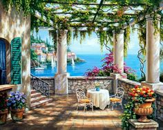 Ceramic Tile Mural - Morning Terrace II - by Sung Kim - Kitchen backsplash / Bathroom shower ** Check this awesome product by going to the link at the image. (This is an affiliate link) Landscape Art, Landscape Paintings, Watercolor Paintings, Belle Image Nature, Pablo Picasso, Tile Murals, Bob Ross, Pictures To Paint, Beautiful Paintings
